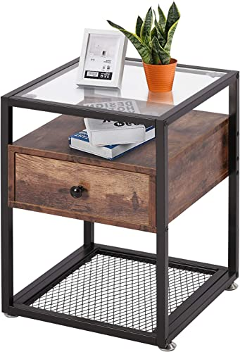 VECELO Nightstand, Tempered Glass End Table, Cabinet with Drawer and Rustic Shelf Decoration in Living Room,Bedroom,Lounge, Brown Black