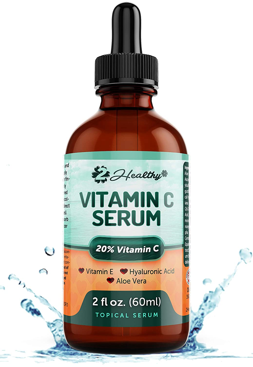 Vitamin C Serum for Face (DOUBLE SIZED) with Hyaluronic Acid & Vitamin E - Anti Aging Wrinkle Skin Care Topical Facial Oil with Aloe Vera, Dark Spot Remover Color Corrector, Acne Scar Removal, 2 Fl oz
