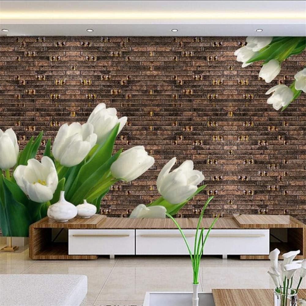 Zxdcd Vintage Flores Blancas Murales Fondos De Fotos Personalizados Para Paredes Fondos De Pantalla De Piedra De Ladrillo 3D Para La Sala De Estar Decoración Para El Hogar Hoja Verde-300Cmx210Cm: Amazon.es: Bricolaje