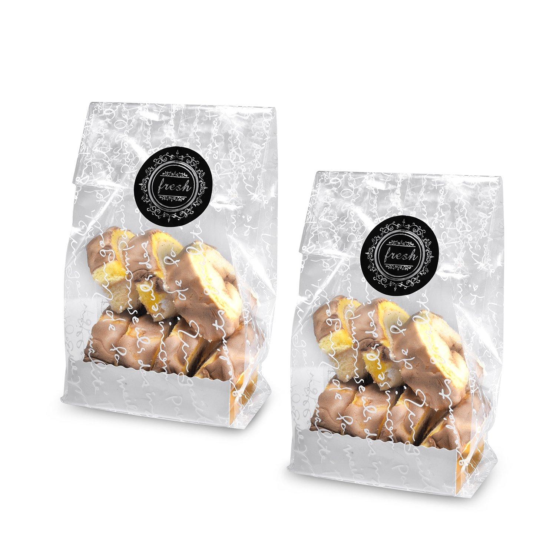 Syndecho 50 Pezzi Blu Sacchettini Bustine Trasparenti Borse Caralelle Sacchettini per Dolci Alimenti Con Vassoio Della Carta e Etichetta