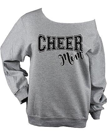 5c409518f0af Amazon.com: Cheer Mom Sweatshirt Glitter Unisex Raw Edge Off Shoulder Shirt  Bling: Clothing