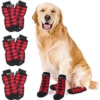 HYLYUN - Calcetines antideslizantes para perro, 3 pares, con correas de control de tracción, para uso en interiores en…