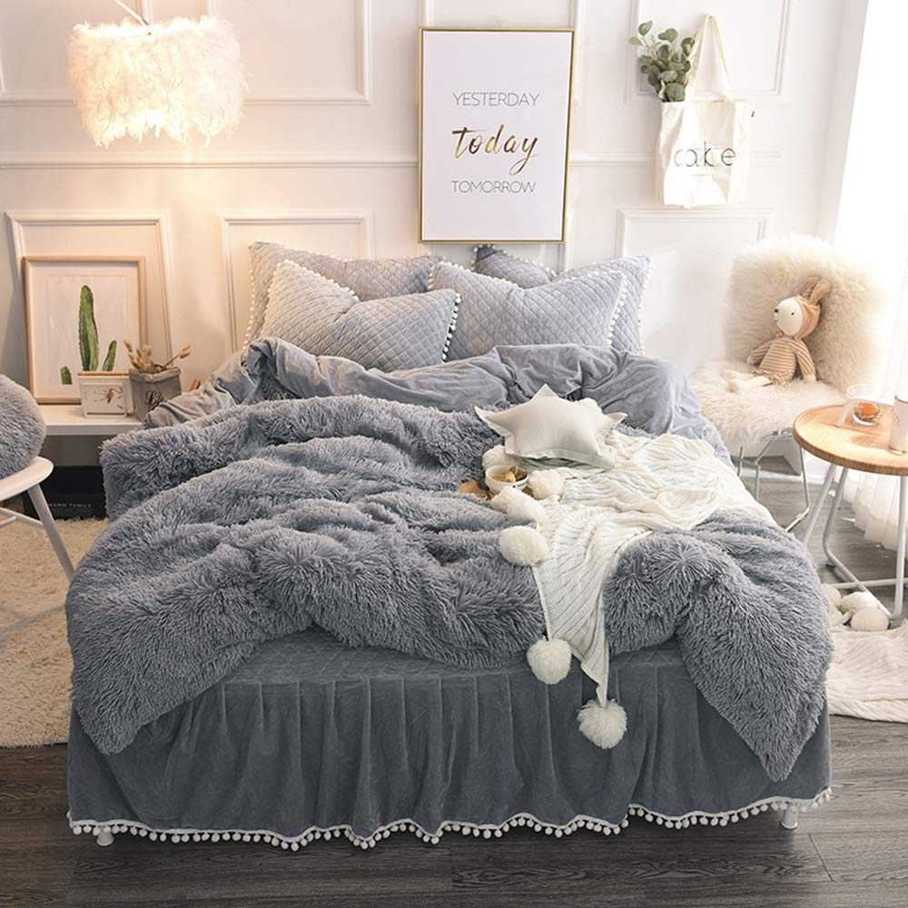 SHSYCER 3-Piece Duvet Cover Set with Zipper Closure- (1 Faux Fur Duvet Cover + 2 Pompoms Fringe Pillow Shams) Ultra Soft Plush Faux Fur Bedding Set - Queen Size Grey
