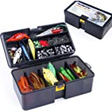 PLUSINNO Fishing Lures Baits Tackle Including Crankbaits, Spinnerbaits, Plastic Worms, Jigs, Topwater Lures, Tackle Box…