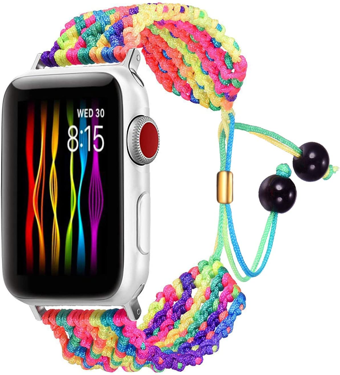 Bandmax Compatible for Rainbow LGBT Apple Watch Band 38MM 40MM Gay Braided Nylon Friendship Rope iwatch Series 5/4/3/2/1 Replacement Wristband Straps for Women Bohemia Bracelet Metal Drawstring Clasp