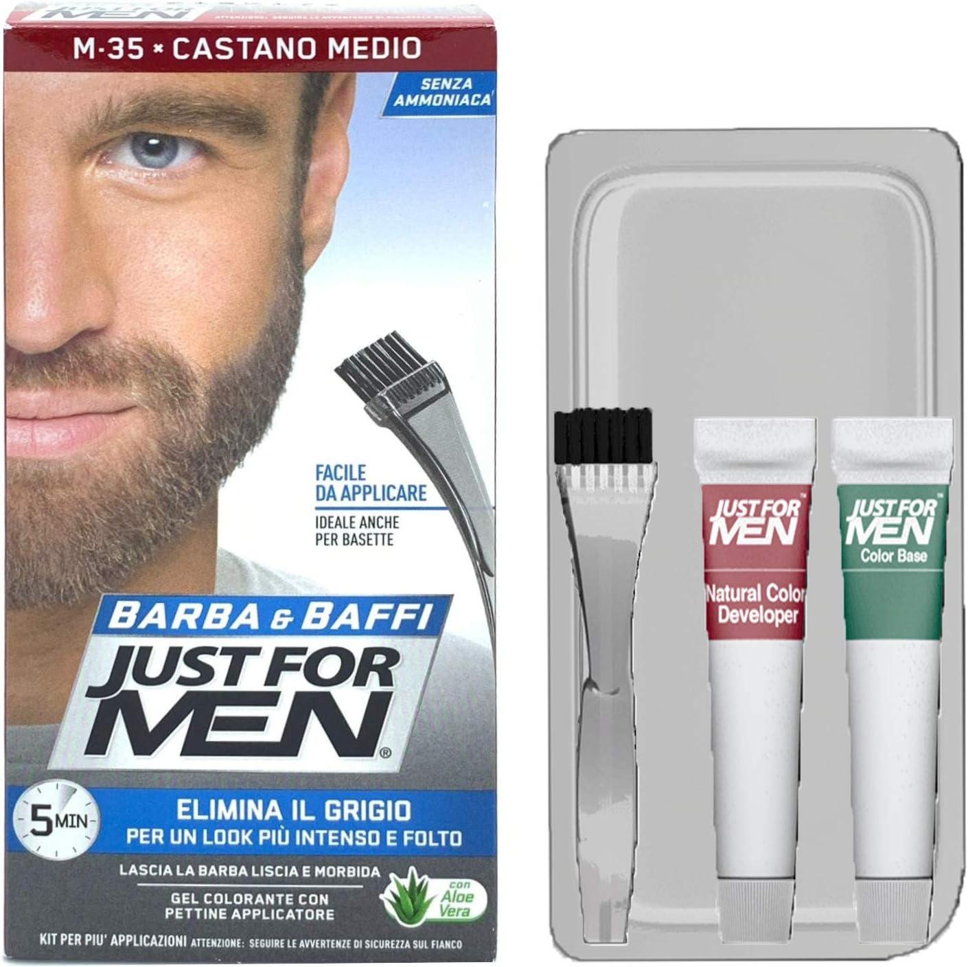 Just For Men - Barba y bigote, color tinte permanente con pincel, sin amoniaco, castaño medio M-35, 2 x 14 ml, gel colorante, 3 unidades