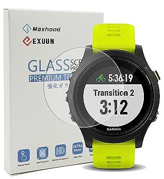 Maxhood Garmin Forerunner 935 Protector de pantalla ultradelgado de cristal, 9h dureza 0.3 mm 2.5d Ronda Edge Vidrio Templado Protector de pantalla ...