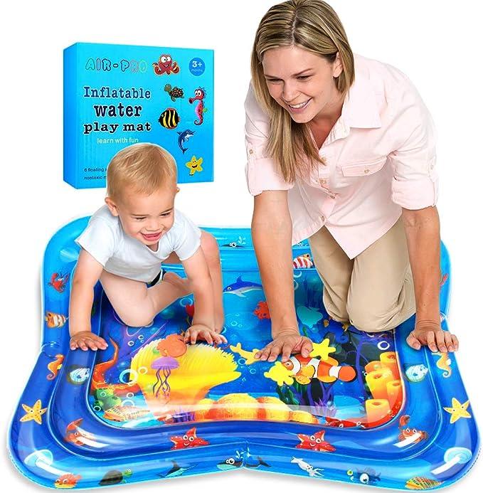 Swonuk Inflatable Water Play Mat 101 * 81 * 9, Estera de agua inflable Tummy Time, Diversión, Interior&Exterior Pad para Bebés&Chicos Gran Tummy Time Actividad