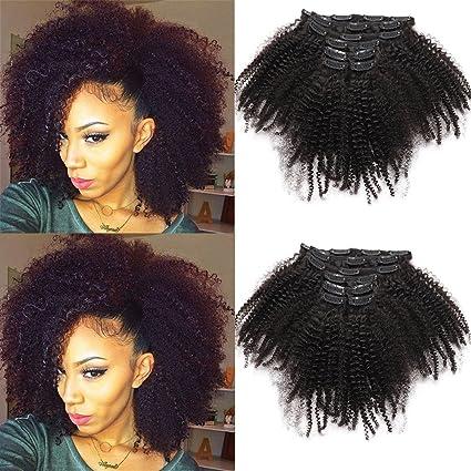 Afro Kinky rizado pelo humano clip en extensiones pelo humano clip en extensiones de pelo de