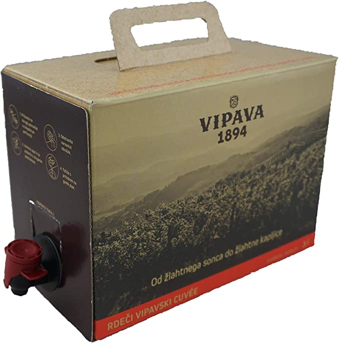Vipava 1894 Vino tinto Bolsa en caja de 3 litros de vino tinto Caja 3 L Cuvee rojo - Barbera/Merlot vino tinto en caja de 3 litros: Amazon.es: Alimentación y bebidas