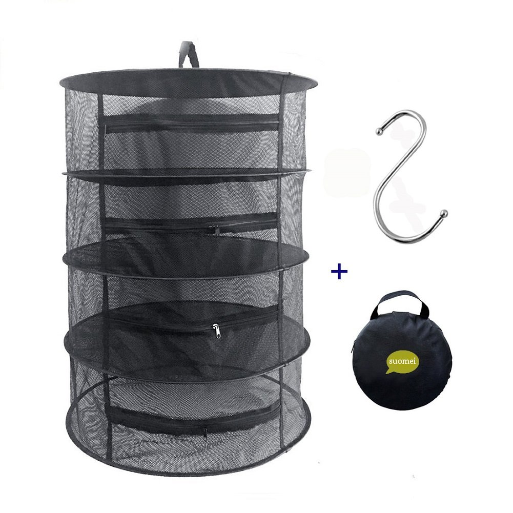 SUOMEI 4 Layer Mesh Hanging Herb Drying Rack Dry Net with Zippers,Gift to S Hang buckle and storage bag,Black (Black) by SUOMEI