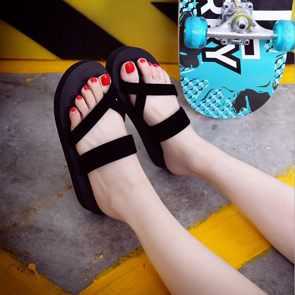 Corriee Womens Summer Clip Toe Slippers Flip Flops Beach Flat Sandals Black by Corriee (Image #3)