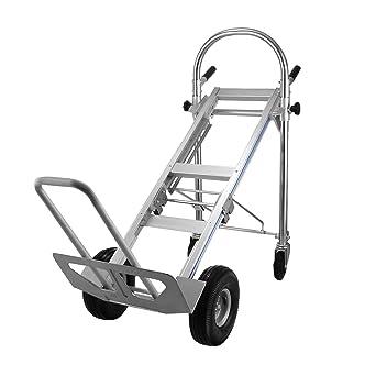OrangeA Carretilla de mano de aluminio 3 en 1, plegable, convertible, alta capacidad