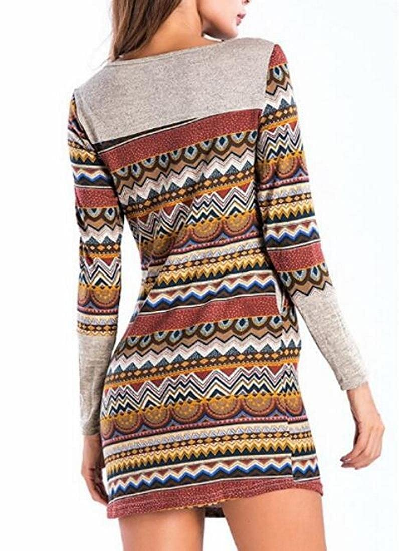 SYTX Women Long Sleeve Tee Shirt Striped Color Blocked Tshirt Casual Tops