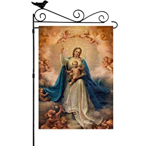 YISHOW Virgin Mother Mary Garden Flag Double Sided Vertical House Banner Home Burlap Flags Welcome Yard Signs Outdoor Decor 12.5