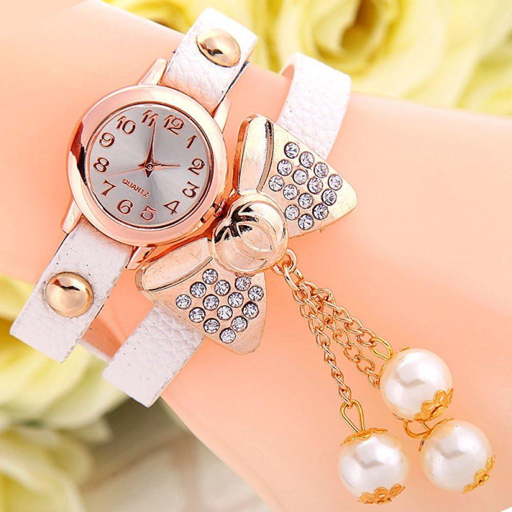 Mujer Arco Perla Diamante Pulsera Extendida Reloj De Doble Vuelta De Cuero Enrollado Reloj