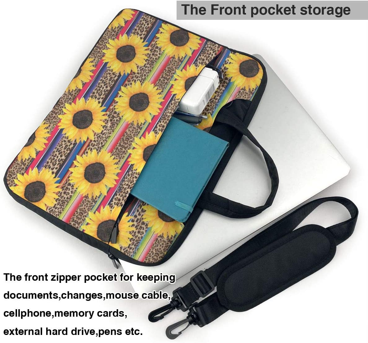 NEPower Laptop Tote Bag Galaxy Sunflower Dog Shockproof Laptop Carrying Sleeve with Strap Fits 13-15.6in Notebook for Office