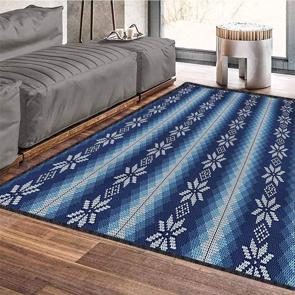 Winter, Area Rug Bedroom, Traditional Scandinavian Needlework Inspired Pattern Jacquard Flakes Knitting Theme, Door Mat Increase 5x7 Ft Blue White by lacencn (Image #5)