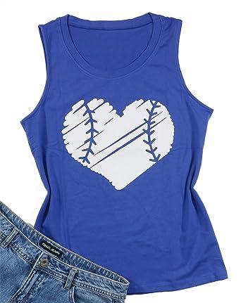 6ae2f8f1afec Baseball Heart Tank T-Shirt Tops Women Sleeveless Funny Vest Tee Tops Size  S (
