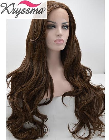 Kryssma Pelucas realistas para las mujeres del chocolate color ondulado natural del pelo sintético