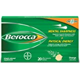 Berocca Flavor Effervescent Vitamin Mineral Supplement Tablets, Orange, 20 Count