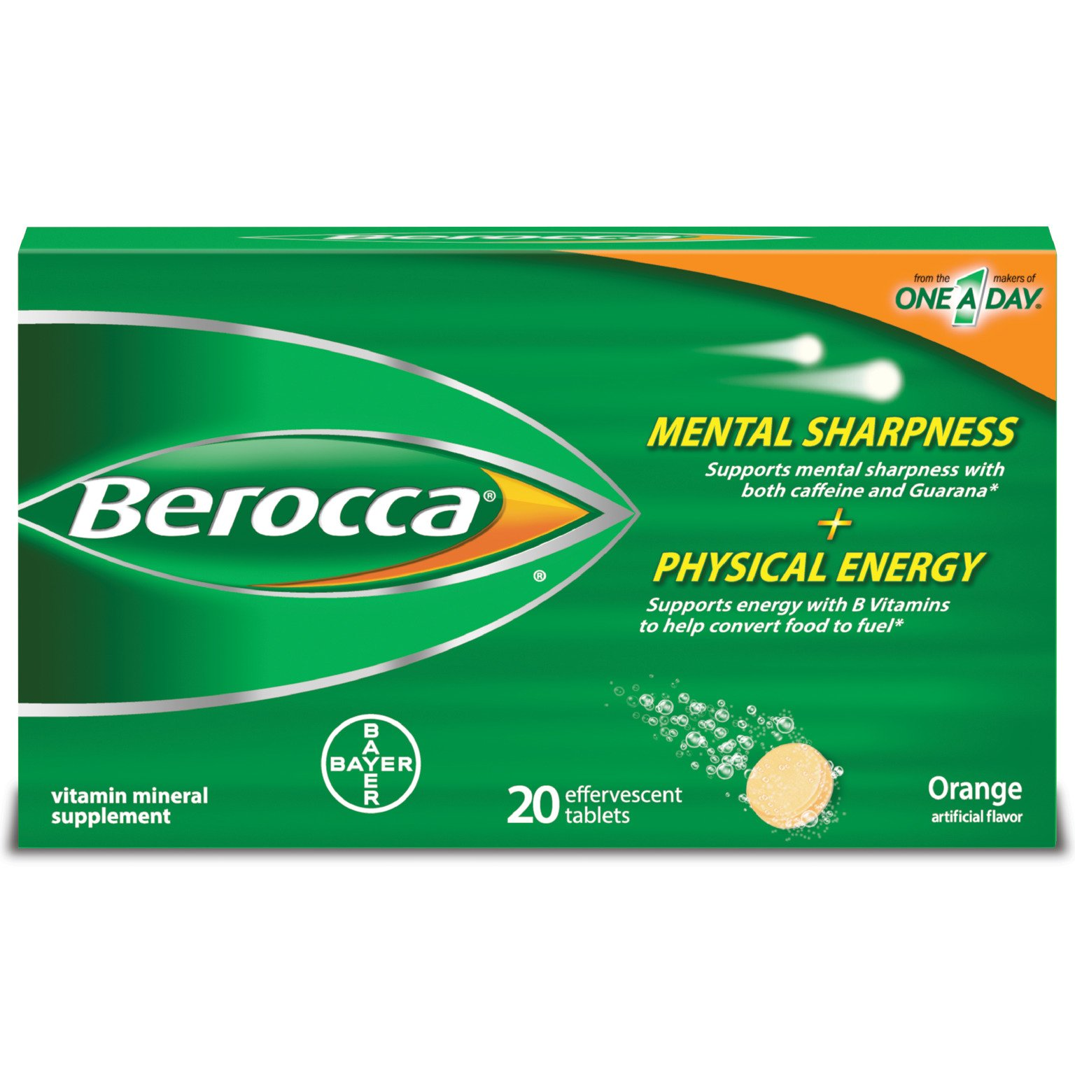 Berocca with Caffeine and Guarana to Support Mental Sharpness and B Vitamins to Support Physical Energy, Orange Flavor, Effervescent Tablets, 20 Count by Berocca