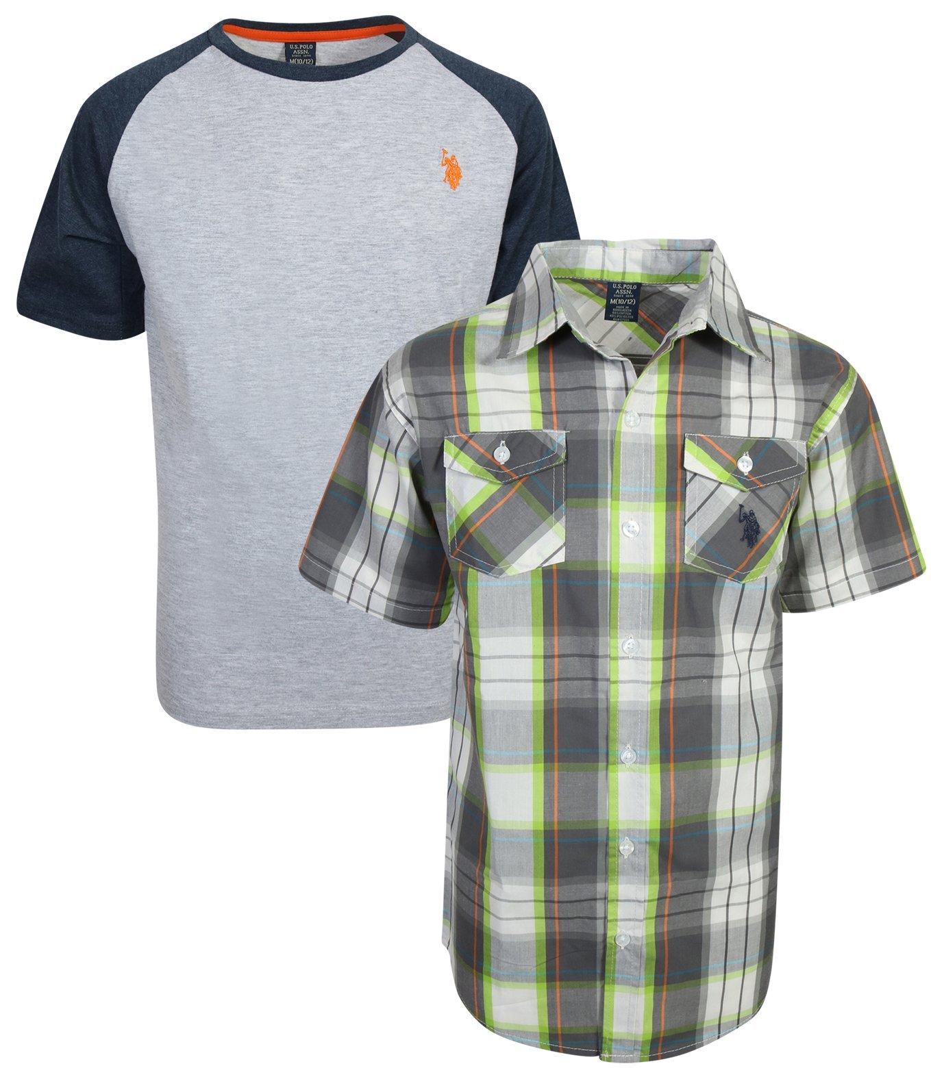 U.S. Polo Assn. Boy's Short Sleeve Button Down Shirt 2 Piece Set, Grey Plaid, Size 4'