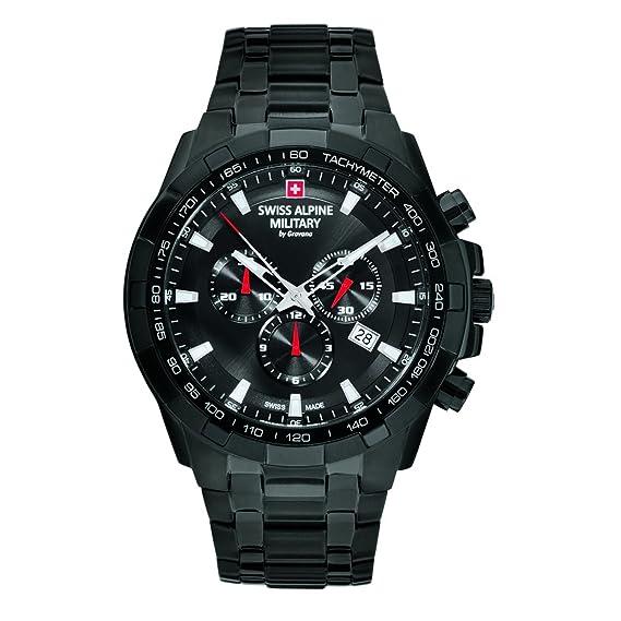 Swiss Alpine Military by Grovana IP 7043.9177 - Reloj con cronómetro, resistencia de 10 ATM, negro, para hombre: Amazon.es: Relojes