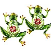 2Krmstr 2 Pack Metal Frog Wall Decor, Cut-Out Metal Climbing Frog, 3D Metal Crafts Hanging Ornaments, Outdoor Indoor Art…