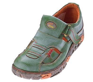 TMA Damen Freizeit Schuhe Echtleder Sandalen 7096 (36, Grün)