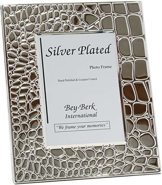 Grey Bey-Berk SF110-11 Silver Plated with Croco Design 5x7 Picture Frame with Easel Back