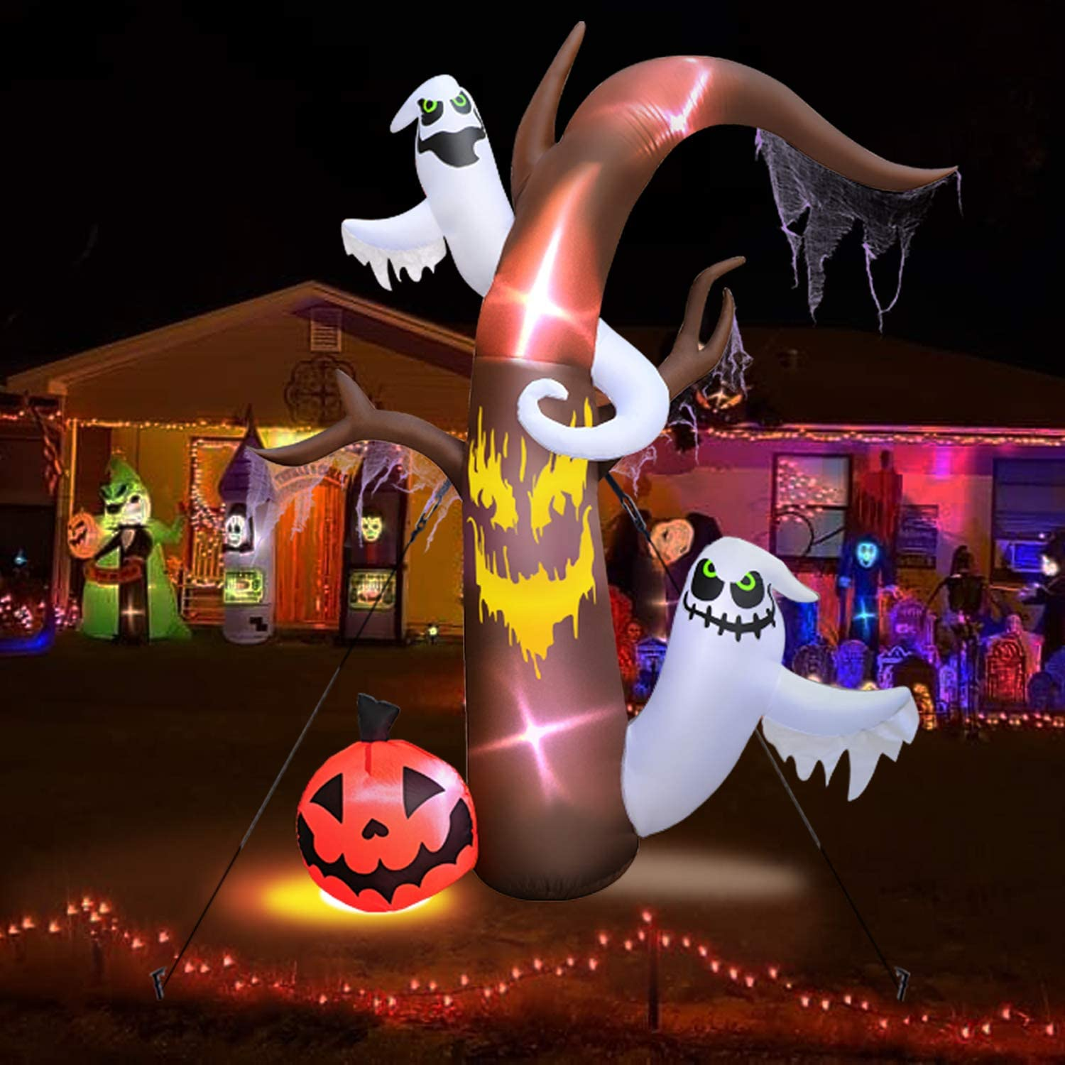 Yard Garden,Lawn,Include Blower//Adapter//Stakes//3 SandBag 10FT Outdoor Halloween Inflatable Ghost Tree Decorations,Blow Up Inflatables Scary Ghost Pumpkin with LED Lights for Halloween Party Outdoor