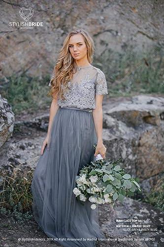 Amazon.com Ombre Slate Grey\u0026Dusty Blue Mary Dress, Long