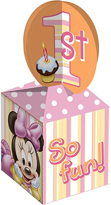 Disney Minnie Mouse 1st Birthday Party Favor Treat Boxes 4 Per Package NEW