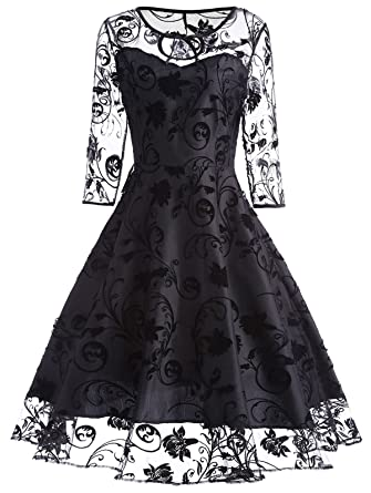 CharMma Womens Vintage Floral Print 3/4 Sheer Sleeve Keyhole Mesh Prom Dress (S