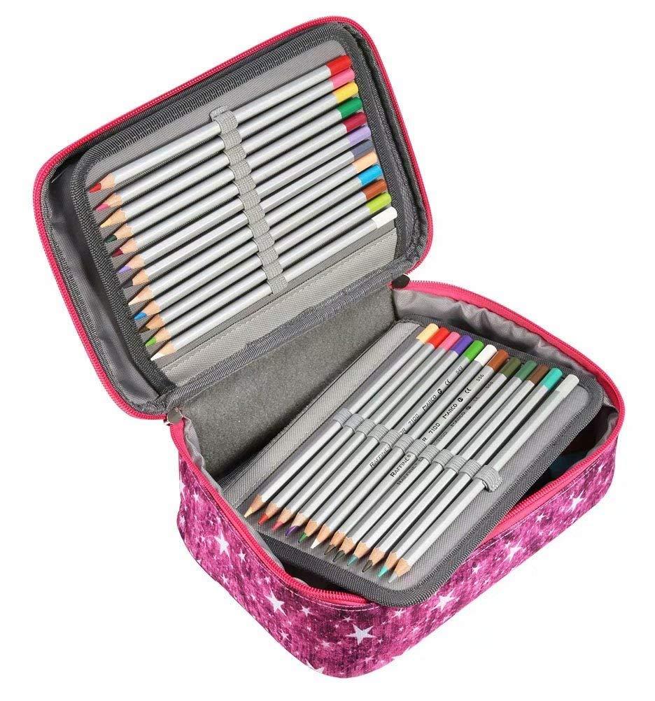 Rose Rouge EDATOFLY 72 Fentes Grande /Étui /à Crayons Colorier Trousse Crayon Plumier Sac de Crayon pour Garcons et Filles