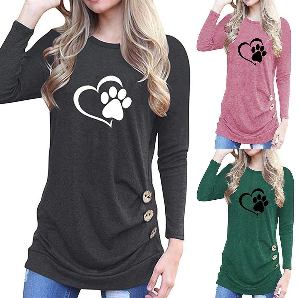 Belasdla Elegante Camisa De Manga Larga Moda Cuello Redondo Aplique Larga SeccióN Camisa Camiseta: Amazon.es: Ropa y accesorios