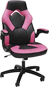 OFM Essentials Collection Racing Style Bonded Leather Gaming Chair, in Pink (ESS-3085-PINK)