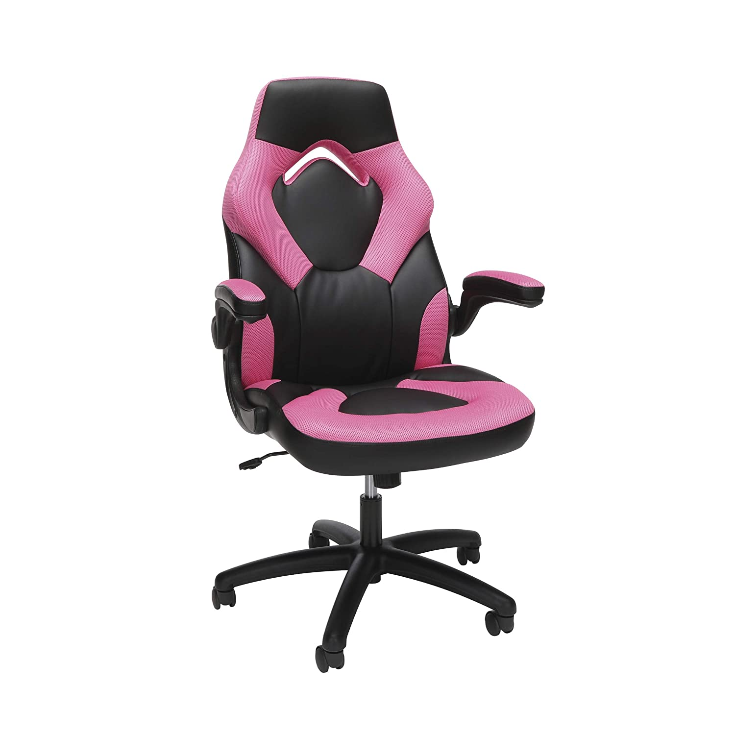OFM Essentials Collection Racing Style Bonded Leather Gaming Chair, in Pink ESS-3085-PINK