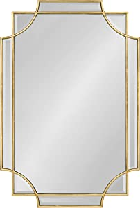 Kate and Laurel Minuette Decorative Rectangle Frame Wall Mirror in Gold Leaf, 24x35.5 Inches