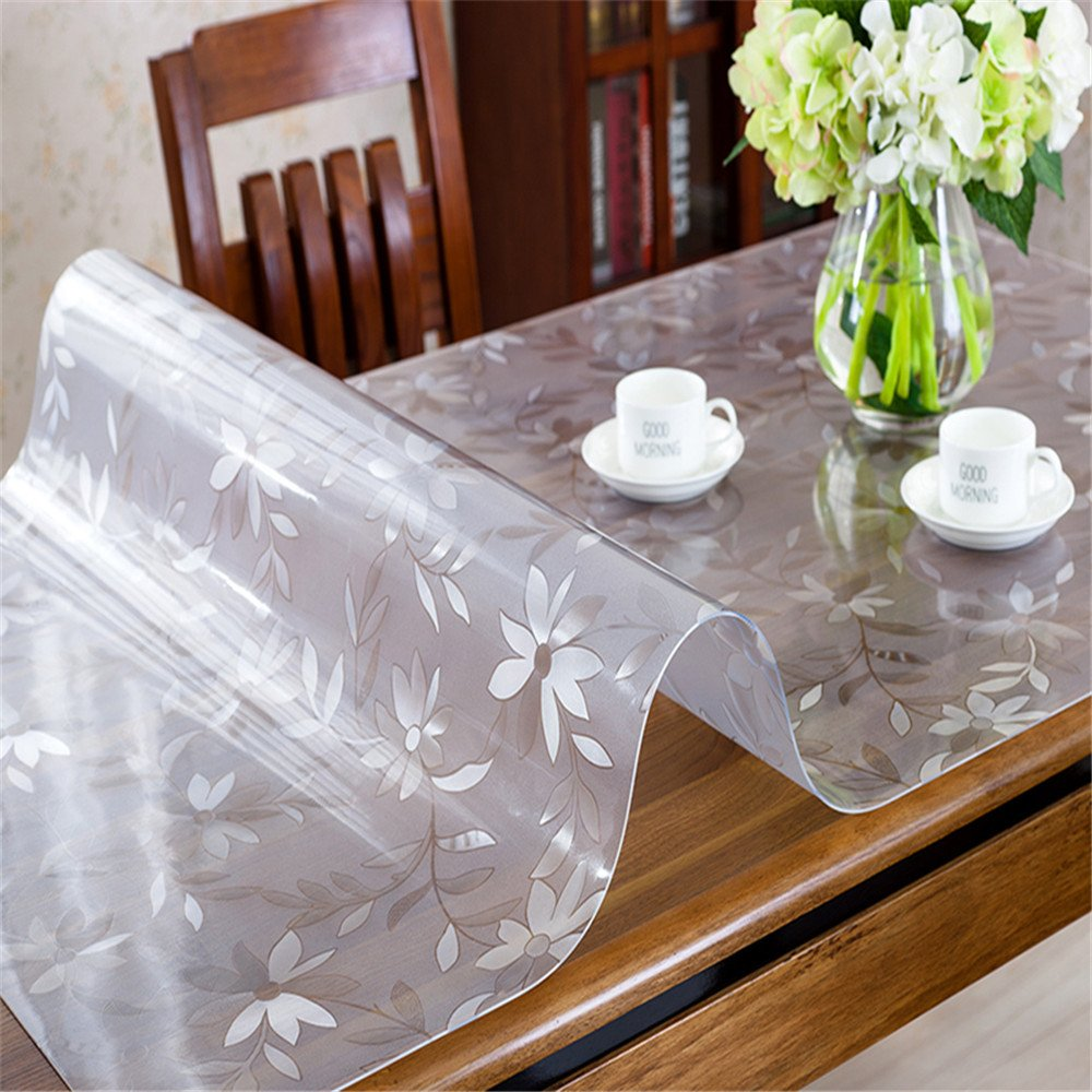 OstepDecor Custom 1.5mm Thick Floral Table Protector for Dining Room Tables Plastic Tablecloth Coffee End Countertop Cover | Rectangular 30 x 30 Inches