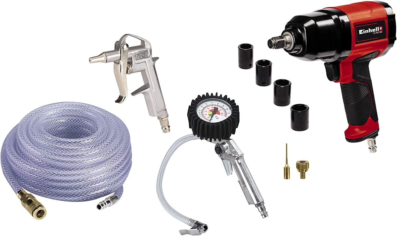 Einhell Original Set de accesorios por aire comprimido de 10 piezas (impacto, pistola de soplado, inflador de neumático, manguera trenzada de 15m, set adaptador balones, 4 llaves, acoplamiento rápido)