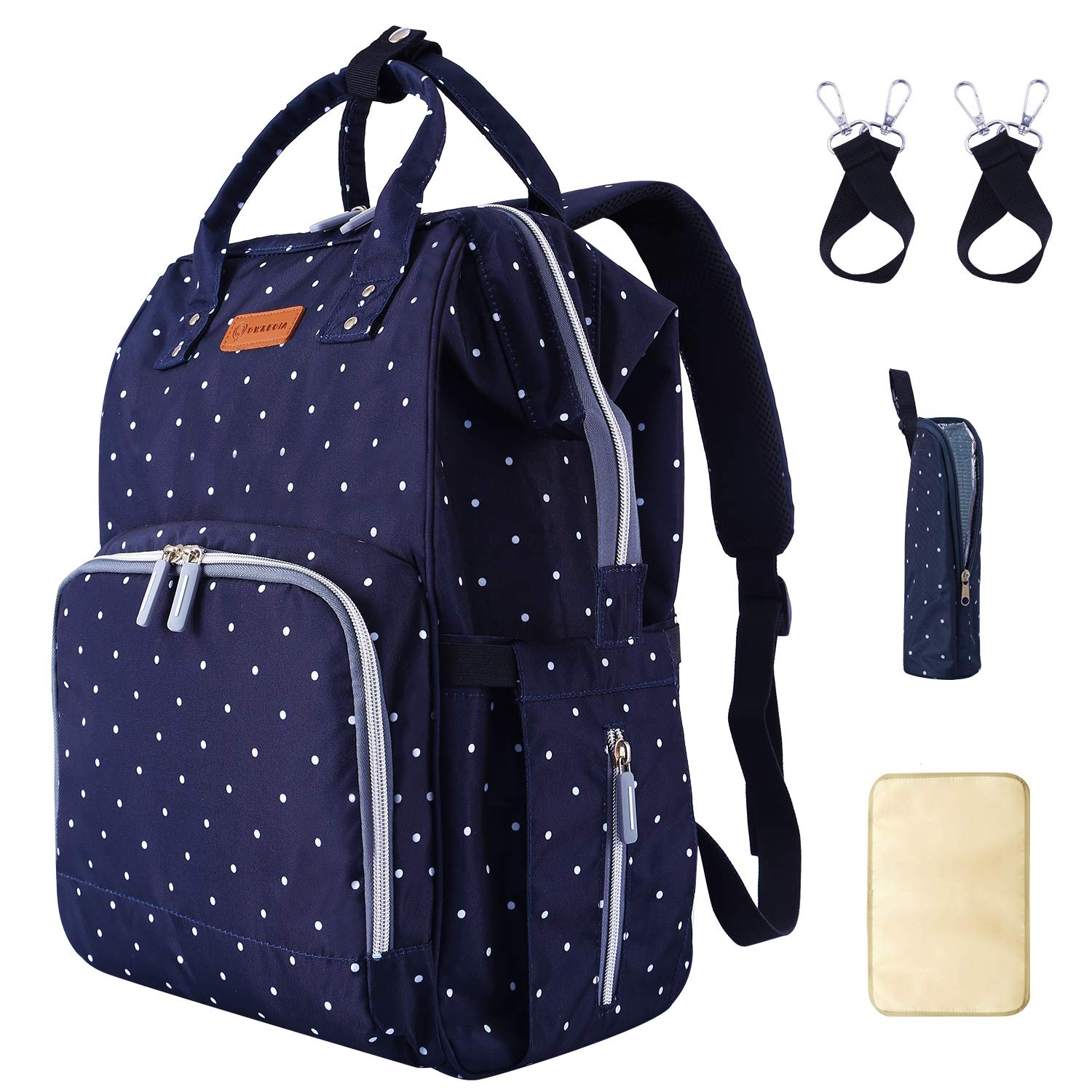 Diaper Bag Backpack for baby with USB Charging Port Stroller Straps Insulated Pocket and Changing Pad For Women/Girls/Mum/Toddler Polka Dot Blue by Qwreoia