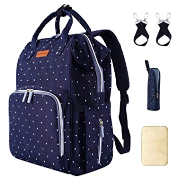 Multi-Function Polka Dots Mummy Baby Diaper Nappy Changing Tote Shoulder Handbag Messenger Bag Light Weight with Bottle Bag Changing Mat Zipper Diaper Bag and Changing Mat Blue
