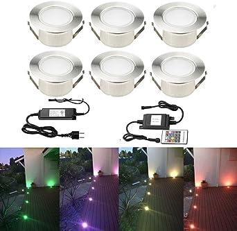 fvtled foco empotrable luz exterior LED suelo terraza DC12 V 1.5 W IP67 Ø61 mm Déco para terreno jardín camino pisos escalera Yard (luz blanco cálido): Amazon.es: Iluminación