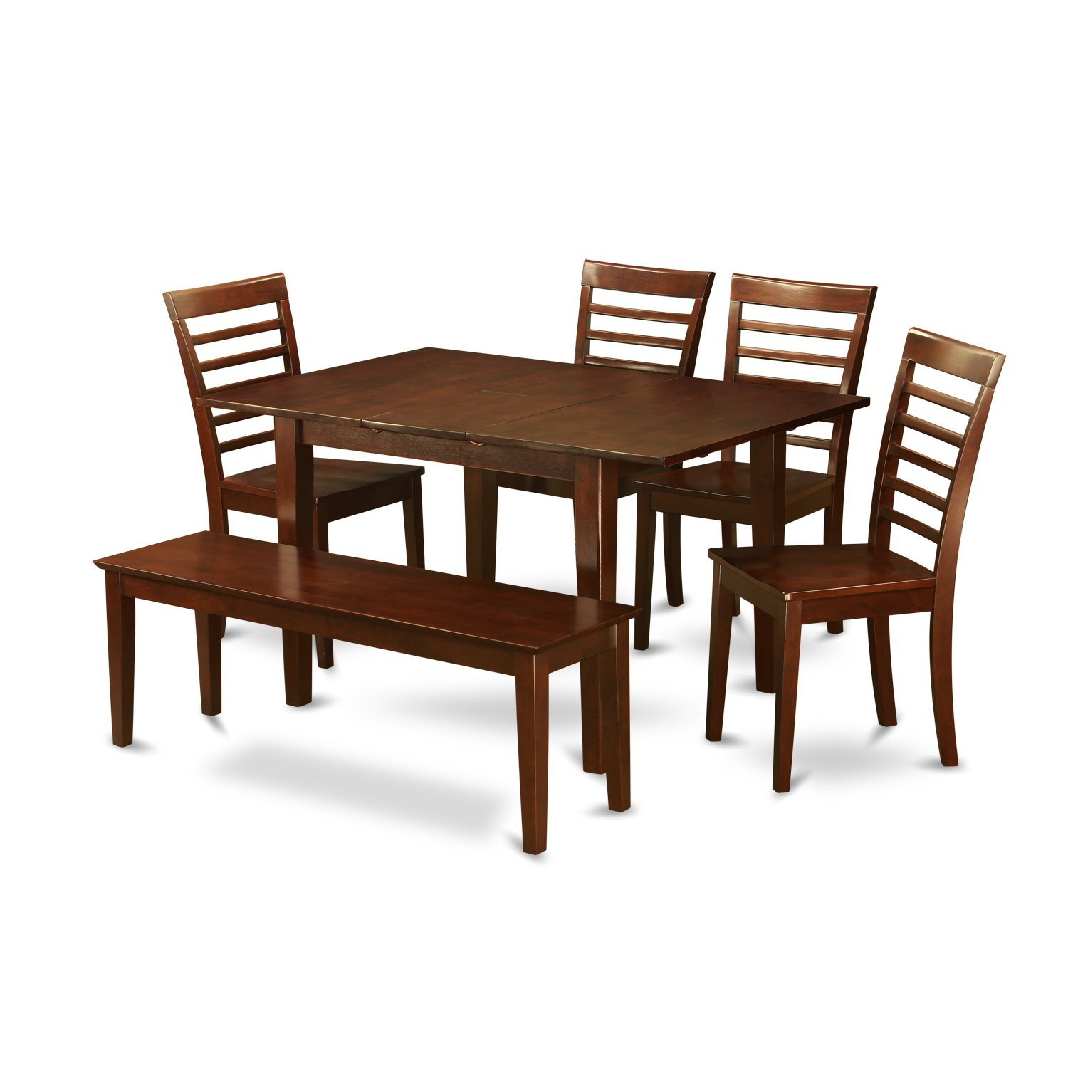 PSML6D-MAH-W 6 Pc Dining room set with bench -Table with 4 Chairs and Dining Bench