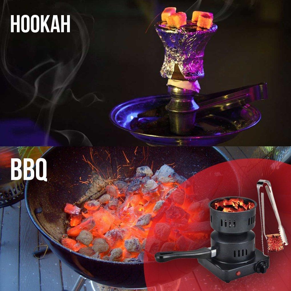 HM Electric Coal Charcoal Starter Burner + Free Tongs! - Hookah, Shisha, Nargila, BBQ, Fire starter