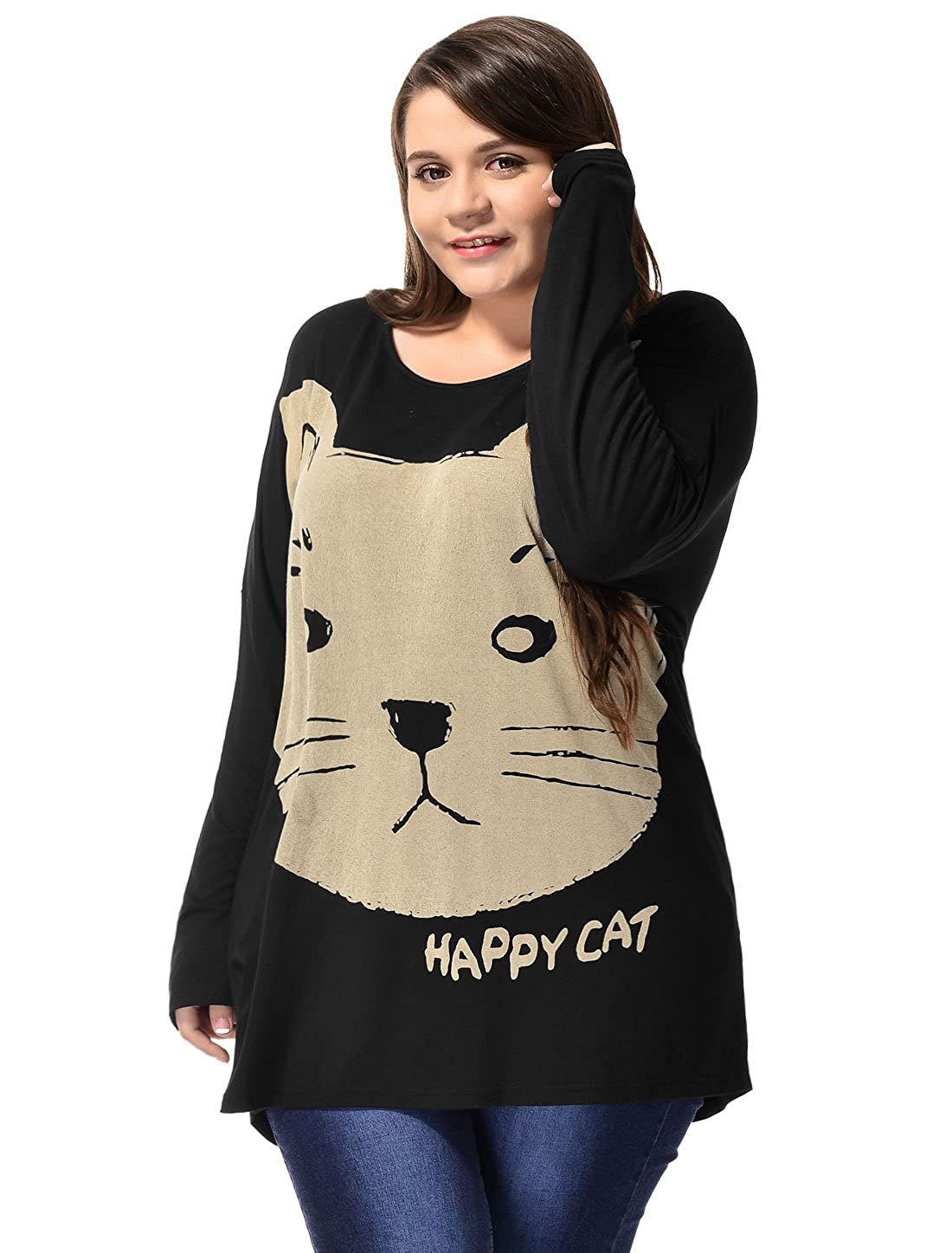 64e5ff2d9 Allegra K Allegra K Ladies Plus Size Cat Head Prints Batwing Tunic T-Shirt:  Amazon.ca: Clothing & Accessories