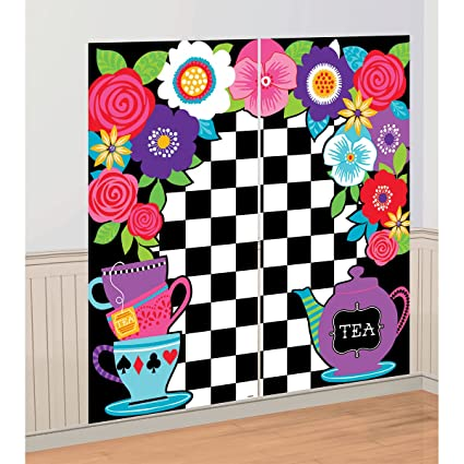 Amazon.com: 5ft Mad Hatter Tea Party Wall Decoration Kit Surprise ...