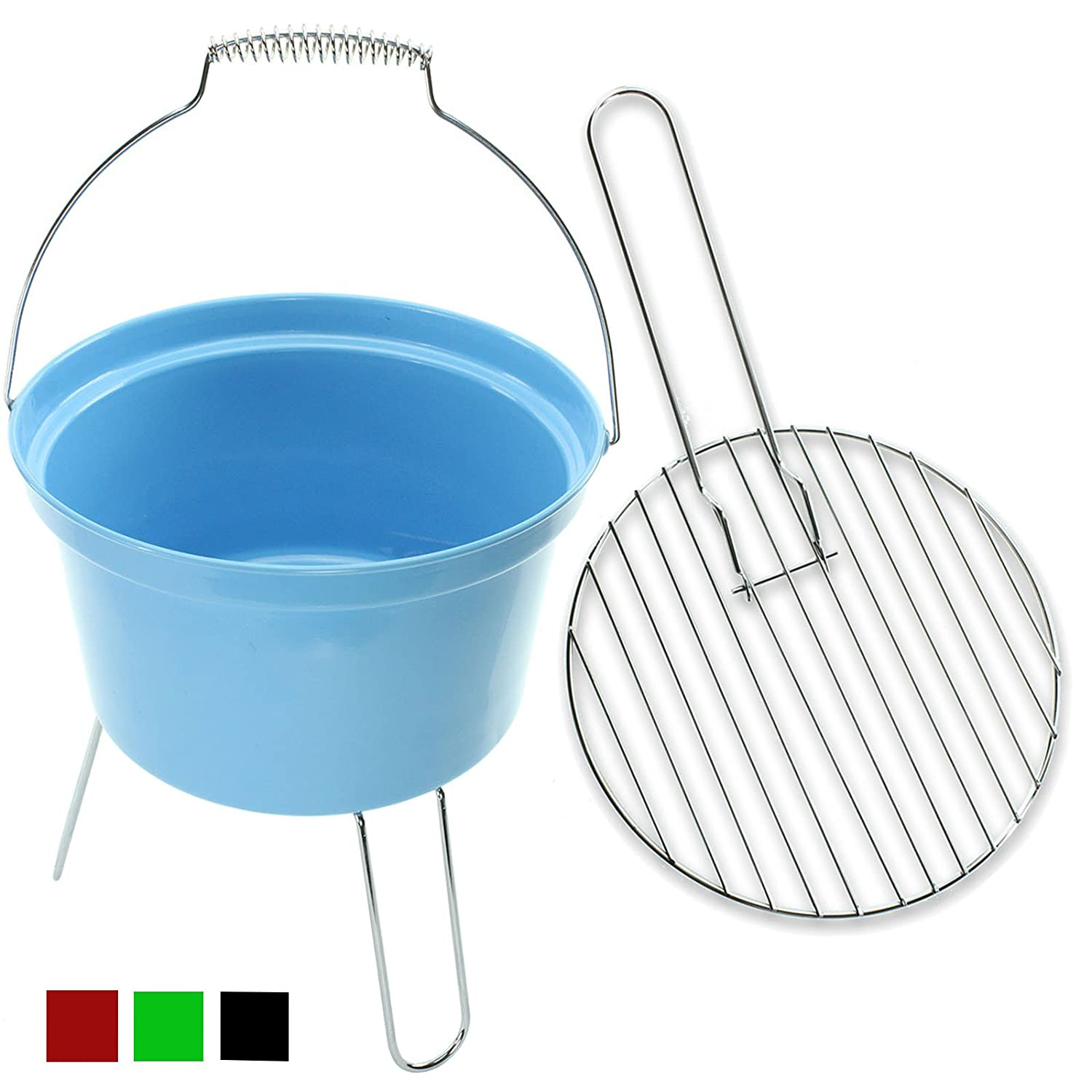 4YourHome Classic Lightweight Bucket BBQ with Handle and Stand – Ideal for Outdoors, Camping and Festivals (Black) First4spares